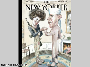 """New Yorker Cover Showing Obama in \""""Islamic\"""" Garb while US flag is burning"""