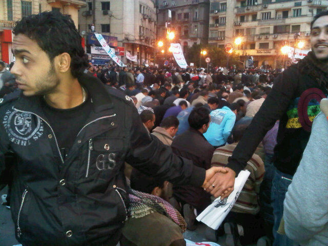 Christians Protecting Muslim Protesters in Egypt During Prayer