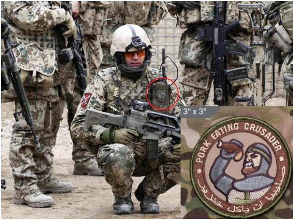 German soldier, Afghanistan, part of the NATO ISAF (Internatiional Security Assistance FOrce) forces. Note that the patch is in Arabic as well as English so that the meaning is not obscured.