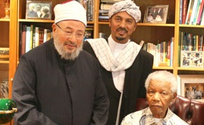 "12 April 2010: Sheikh Yusuf Al Qaradawi meets Nelson Mandela, and hailed the South African leader as the ""hero of Africa""."